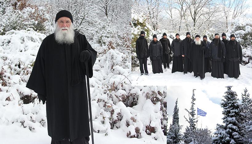 Χιόνια στο Ιερό Ησυχαστήριο Αγίων Αυγουστίνου Ιππώνος και Σεραφείμ του Σαρώφ Τρικόρφου Φωκίδος